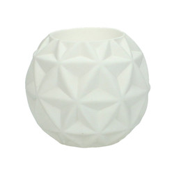 White Geometric Candle Holder