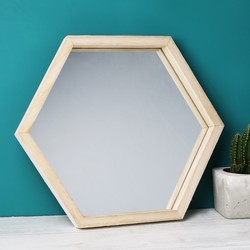 Wooden Hexagon Wall Mirror