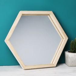 Wooden Hexagon Wall Mirror