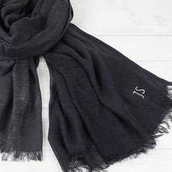 Men's Personalised Soft Woven Dark Grey Scarf