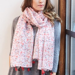 Pink Ditsy Floral Meadow Scarf with Tassels
