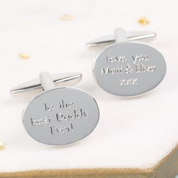 Personalised Men's Stainless Steel Oval Cufflinks