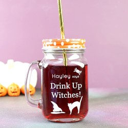 Personalised 'Drink up Witches' Halloween Mason Jar