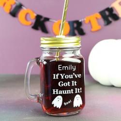 Personalised 'Haunt It' Halloween Mason Jar