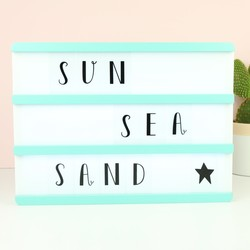 A4 Mint Green Wooden LED Light Box with Letters