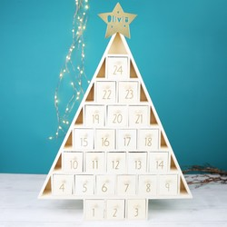 Wooden Christmas Tree Personalised Advent Calendar