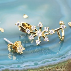 Gold Crystal Snowflake Ear Cuff with Stud Earring