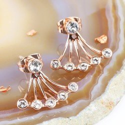 Rose Gold Swarovski Crystal Jacket Earrings