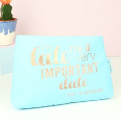 Mad Beauty 'Important Date' Quote Blue Cosmetic Bag