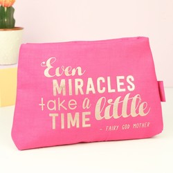 Mad Beauty 'Miracles' Quote Pink Cosmetic Bag