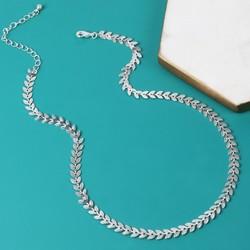 Delicate Silver Vine Leaf Chain Necklace