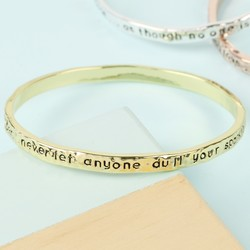 Gold 'Always Remember' Meaningful Word Bangle