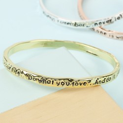 Gold 'Your Life' Meaningful Word Bangle