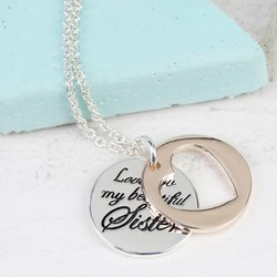 Personalised Mixed Metal 'Beautiful Sister' Meaningful Words Necklace