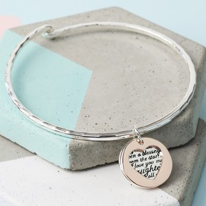 Silver and Rose Daughter Heart and Disc Bangle
