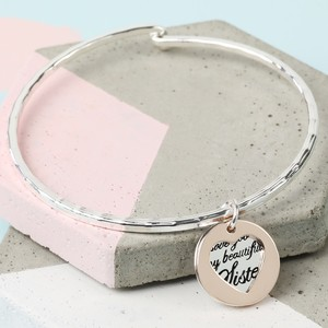 Silver and Rose Sister Heart and Disc Bangle