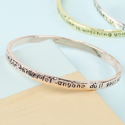 Rose Gold 'Always Remember' Meaningful Word Bangle