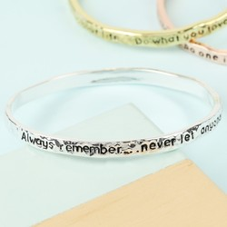 Silver 'Always Remember' Meaningful Word Bangle