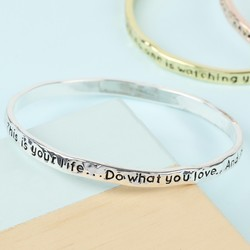 Silver 'Your Life' Meaningful Word Bangle