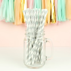 Pack of 25 Silver and White Stripe Paper Straws