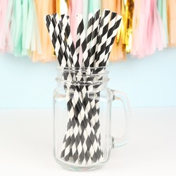 Pack of 25 Black and White Stripe Paper Straws