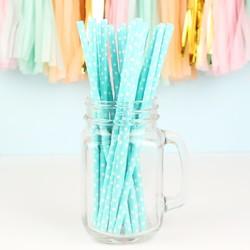 Pack of 25 Blue Polka Dot Paper Straws
