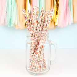 Pack of 25 Ditsy Floral Paper Straws