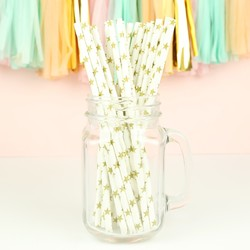 Pack of 25 Gold Star Paper Straws