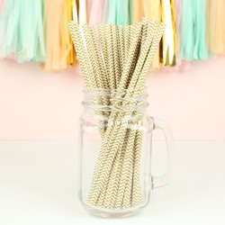 Pack of 25 Gold Zig Zag Paper Straws