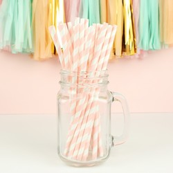 Pack of 25 Pink and White Stripe Paper Straws