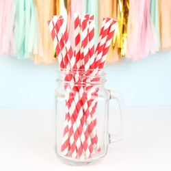 Pack of 25 Red and White Stripe Paper Straws