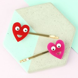 Meri Meri Acrylic Heart Hair Pins