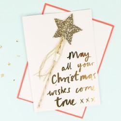 Meri Meri Glittery Star Wand Christmas Card