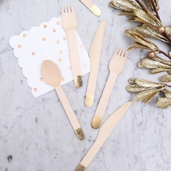 Meri Meri Gold Tipped Wooden Cutlery Set