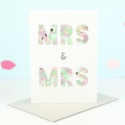 Meri Meri Mrs and Mrs Confetti Shaker Wedding Card