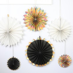Meri Meri Pack of 6 Metallic Pinwheel Decorations