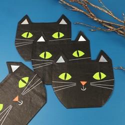 Meri Meri Set of 16 Halloween Cat Napkins