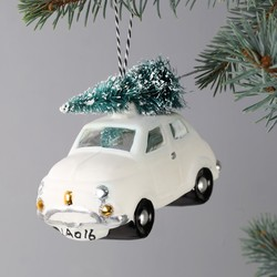 Car and Bristly Christmas Tree Bauble