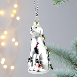 Festive Dog and Christmas Lights Bauble