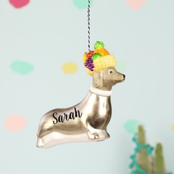 Personalised Fruity Sausage Dog Bauble
