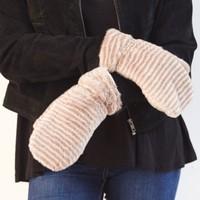 Super Soft Mink Stripe Fluffy Mittens