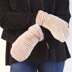 Super Soft Mink Stripe Fluffy Mittens