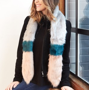 Faux Fur Stole in Grey, Pink and Teal
