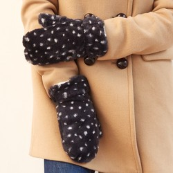 Navy & White Spot Faux Fur Mittens
