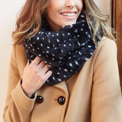 Navy & White Spot Faux Fur Snood