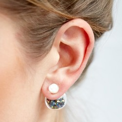 Petrol Bead Double Ball Earrings