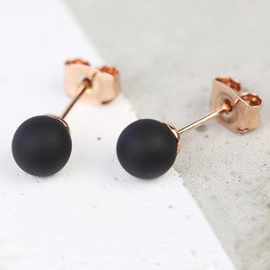 Black Rubber Ball Stud Earrings