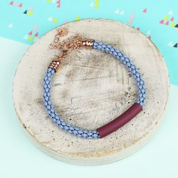 Blue Chain Bracelet with Burgundy Bar