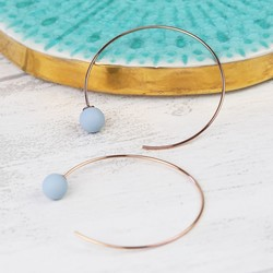 Blue Rubber Ball Through Earrings in Rose Gold