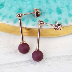 Burgundy Ball Drop Stud Earrings in Rose Gold